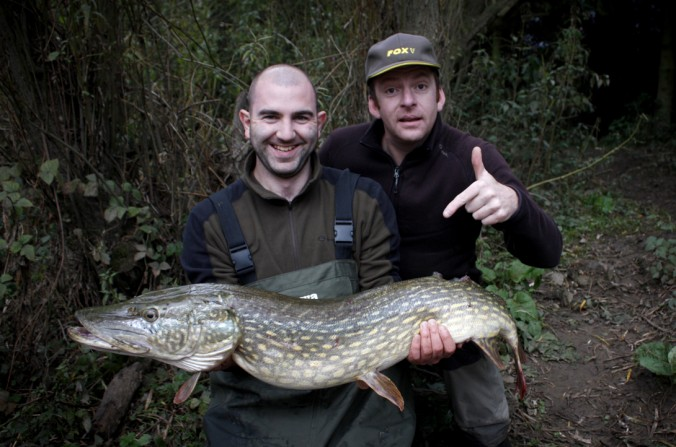 Mike Linstead and James Davies with an unexpected capture of a 20lb RIver Swale Pike