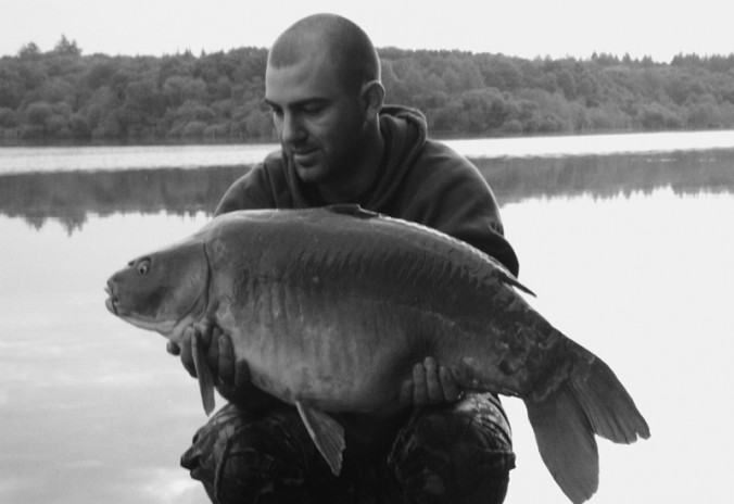 Mike Linstead with a 30lb French Mirror Carp, 2008