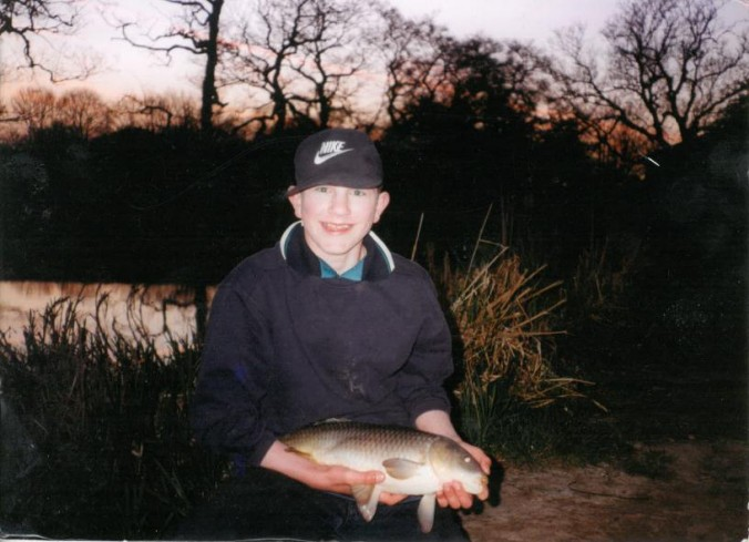 Mike Linstead with a 6lb Common Carp, Kilnhurst Pond (1997)